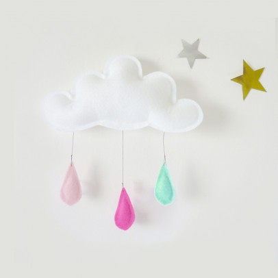The Butter Flying Peach Raindrops Mobile - Pink - Mint-listing