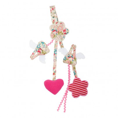 Trousselier Red Flowers Angel Bunny Pacifier Clip Rattle-listing