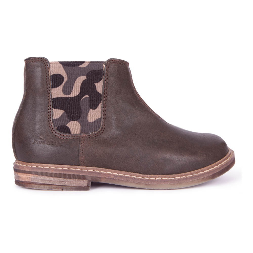 bottines aviator retro jodzip marron pom d'api chaussure bébé ,