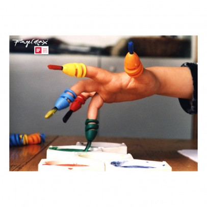 Fingermax Finger Paint Brushes with Primary Colour Paint-listing