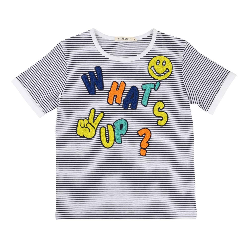 What S Up Striped T Shirt White Billybandit Fashion Children