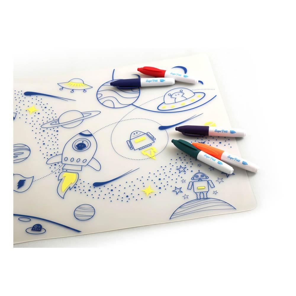 set de table colorier avec 5 feutres et bracelet super h ros. Black Bedroom Furniture Sets. Home Design Ideas