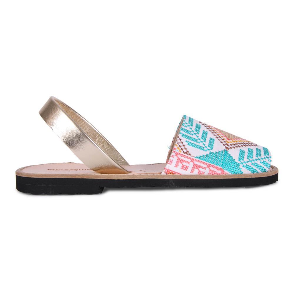 Sandales plates brodées en toileMinorquines oedKkl