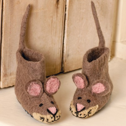 Sew heart felt Felted wool mouse slippers -listing