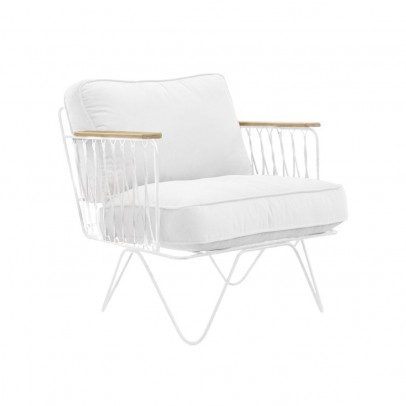 Honoré Croisette White and White Cotton Armchair-listing