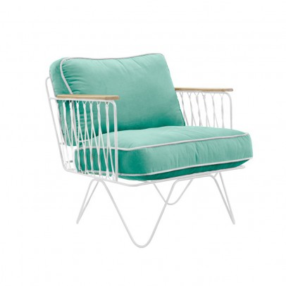 Honoré Croisette White and Sea-Green Cotton Armchair-listing