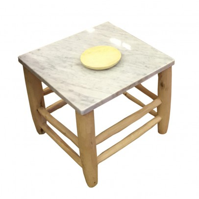 Honoré Beldi Wood and White Marble Table-listing