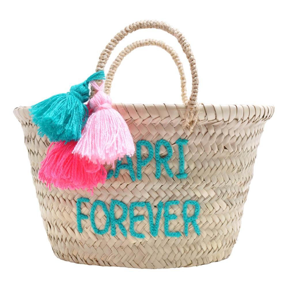 panier pompon brod capri forever vert d 39 eau rose in april. Black Bedroom Furniture Sets. Home Design Ideas