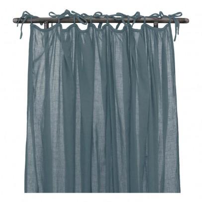 numero 74 feiner vorhang blaugrau listing - Betthimmel Vorhnge