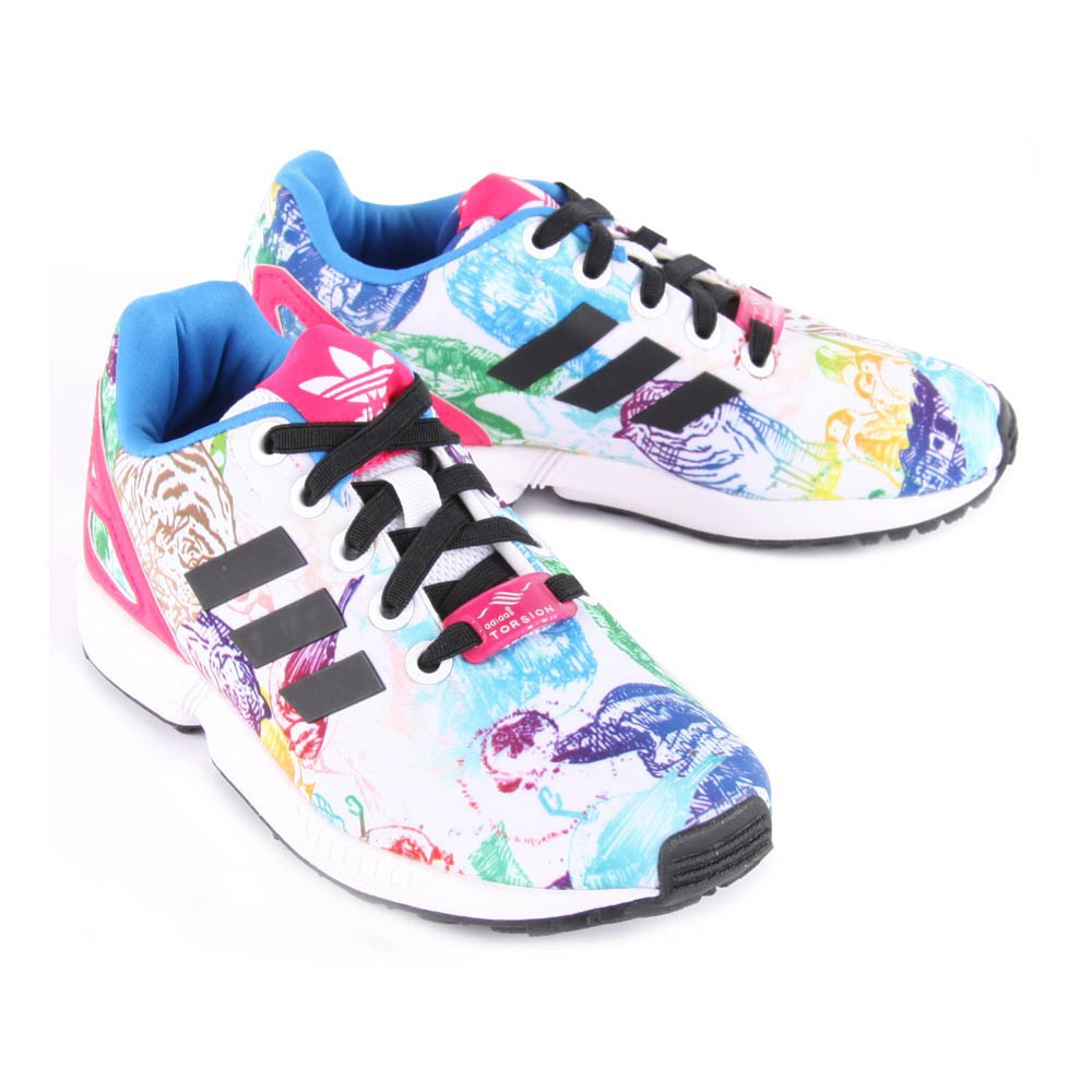 ... Animal-Print Elastic Lace ZX Flux Trainers-product ...