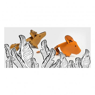Happy Go Lucky Leather Tiger Finger Puppet-listing