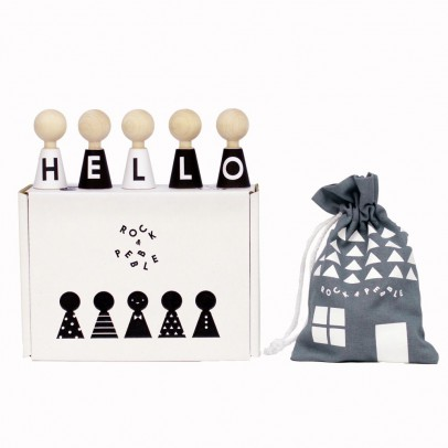 Rock and Pebble Pebbles Wooden Alphabet Figurines-listing