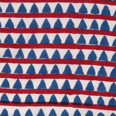 Le Petit Lucas du Tertre Double Cotton Padded Triangle Bib - Red and Blue-listing