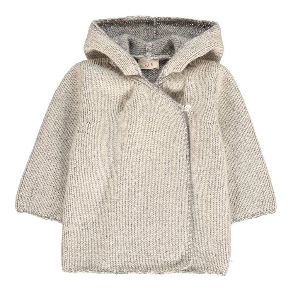 Cashmere Wool Hooded Wrap Cardigan Grey Ketiketa Fashion Baby