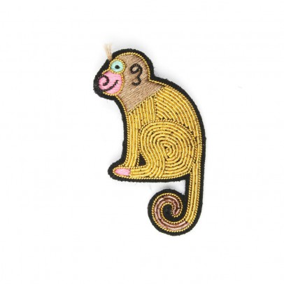 Macon & Lesquoy Embroidered Cotton Monkey Brooch-listing
