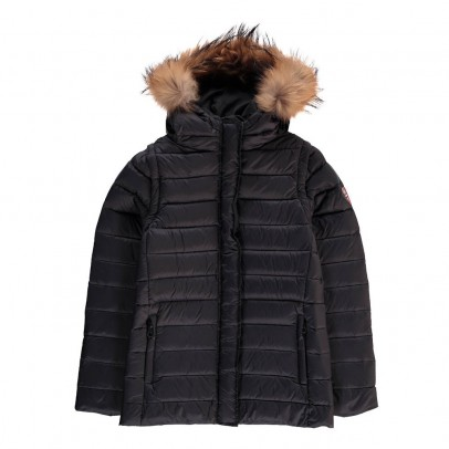 Gertrude + Gaston Little Olga Down Jacket with Fur-Lined Hood and Detachable Sleeves-listing