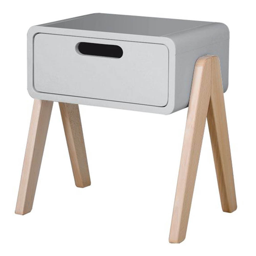 table de chevet petit robot pieds bois naturel gris laurette. Black Bedroom Furniture Sets. Home Design Ideas