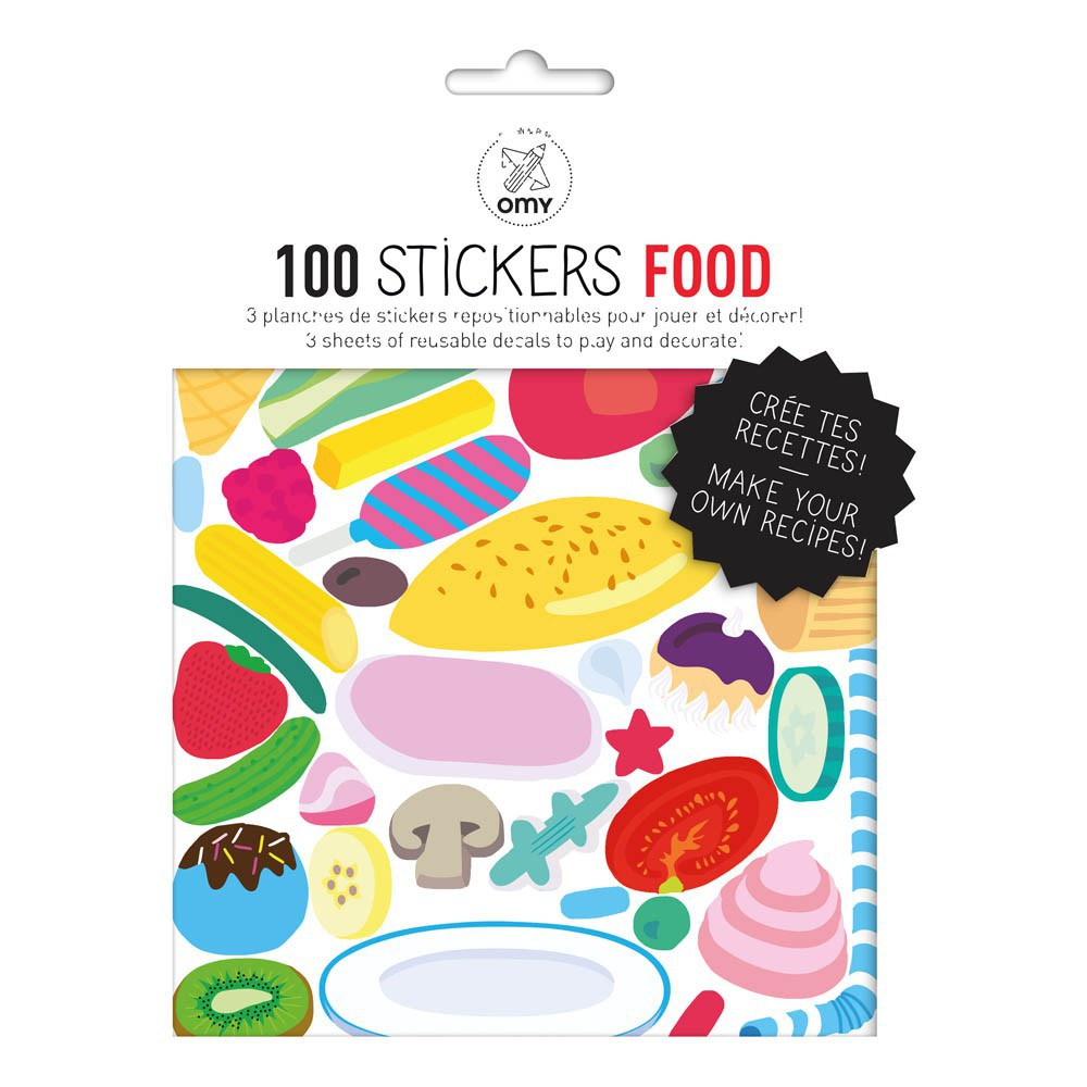 Food wall stickers set of 100 multicoloured omy design - Stickers miroir cuisine ...