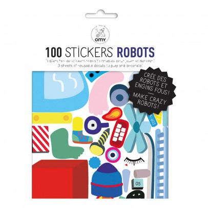 Omy Planche de stickers muraux Robot  - 100 stickers-listing