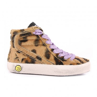 Golden Goose Slide Leopard Print Trainers with Zip-listing