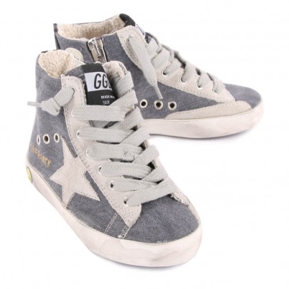 Golden Goose Deluxe Brand Fancy Lined Denim Trainers with Zip-listing