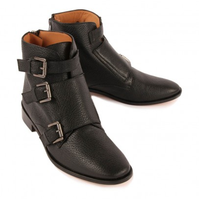 Emma Go Grained Leather Stanley Boots with Buckles-listing