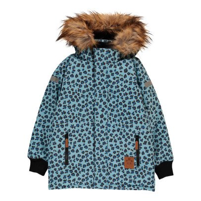 Mini Rodini Leopard Parka with Faux Fur Hood-listing