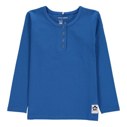 Mini Rodini Organic Cotton Basic Panda Henley Neck Shirt-listing