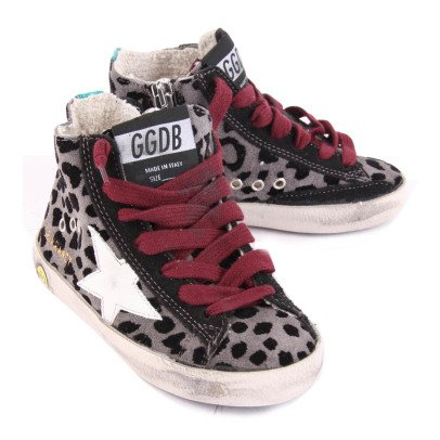 Golden Goose Deluxe Brand Francy Leopard Print Suede Trainers with Zip-listing