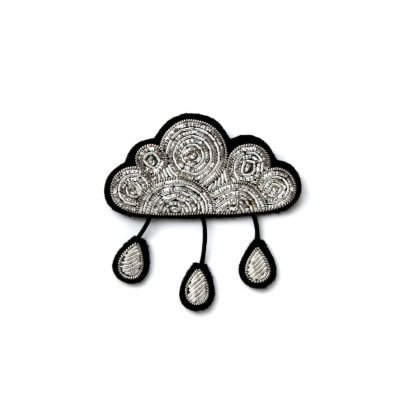 Macon & Lesquoy Hand Embroidered Rain Cloud Brooch Silvery-listing
