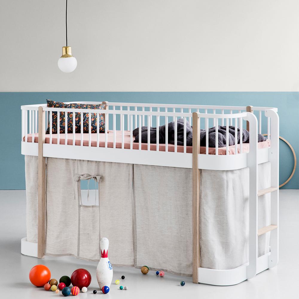 mid high oak loft bed 90x200cm product - Oliver Furniture Hochbett