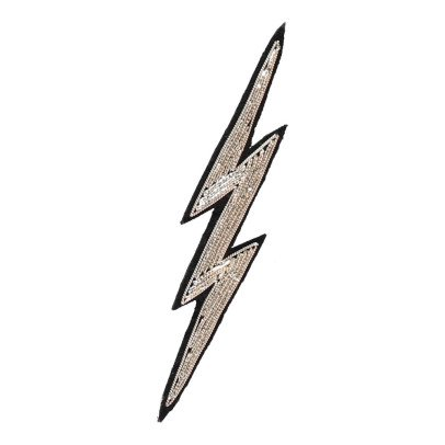 Macon & Lesquoy Hand Embroidered Lightning Brooch Silvery-listing