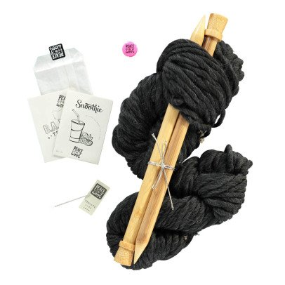 Peace and Wool Black Snoothie DIY Snood Knitting Kit-listing
