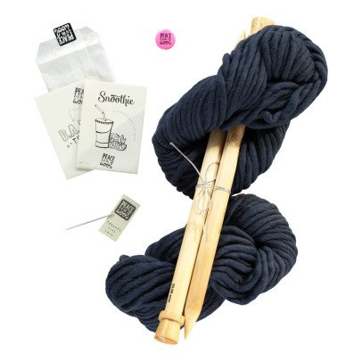 Peace and Wool Navy Blue Snoothie DIY Snood Knitting Kit-listing