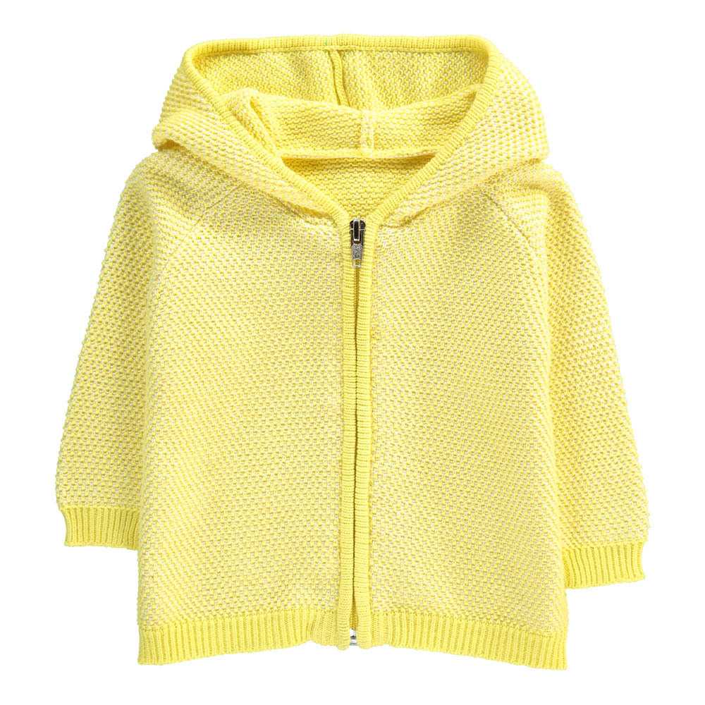 Fluffy Stitch Hooded Cardigan Lemon yellow Lab - La Petite