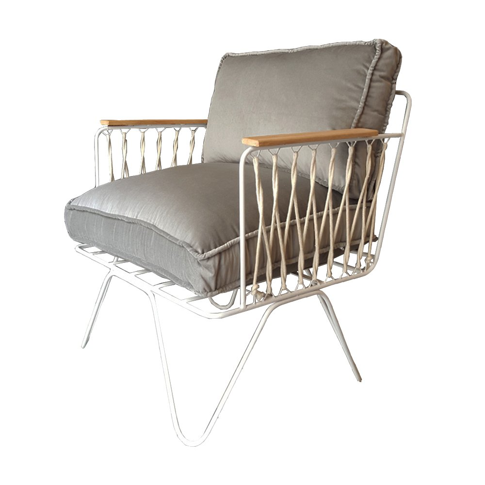 fauteuil croisette blanc velours gris honor design adulte. Black Bedroom Furniture Sets. Home Design Ideas