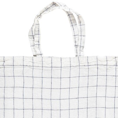 Linge Particulier White and Navy XL Checked Washed Linen Shopper-listing