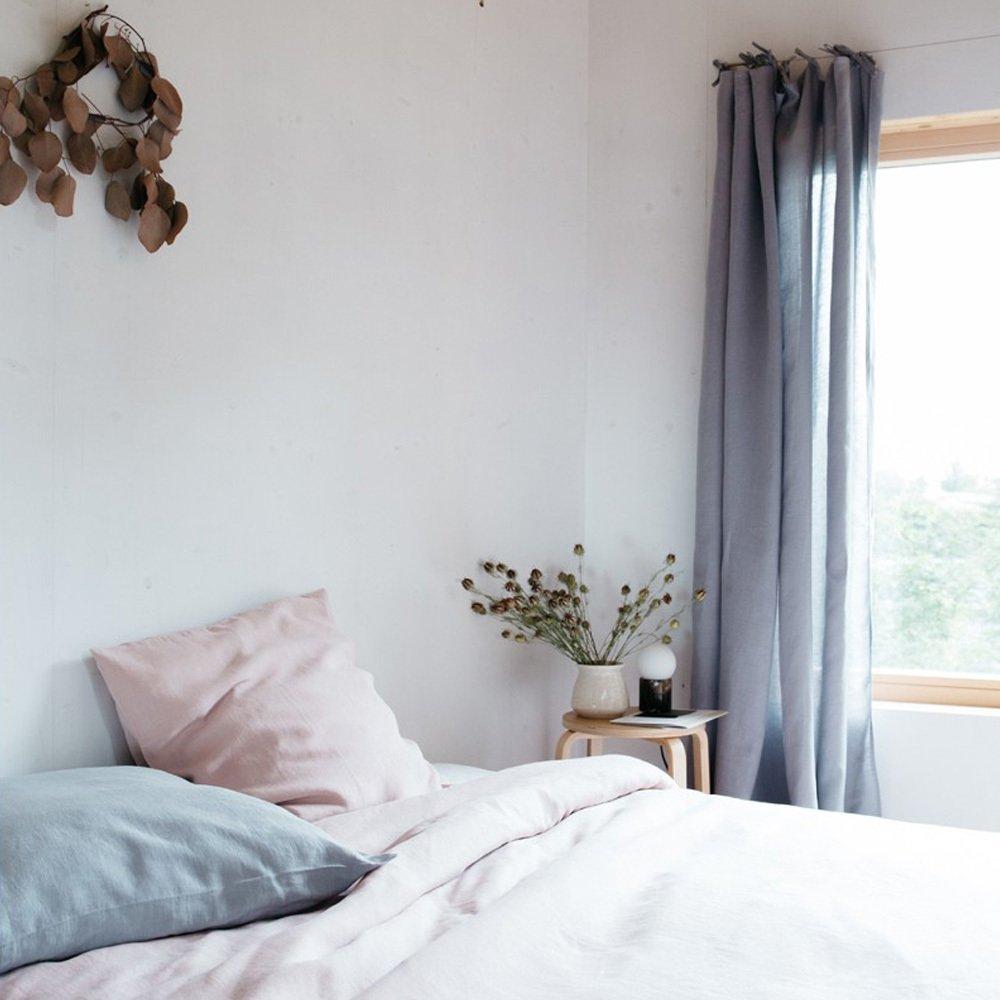 rideau en lin avec nouettes gris clair lab design enfant. Black Bedroom Furniture Sets. Home Design Ideas
