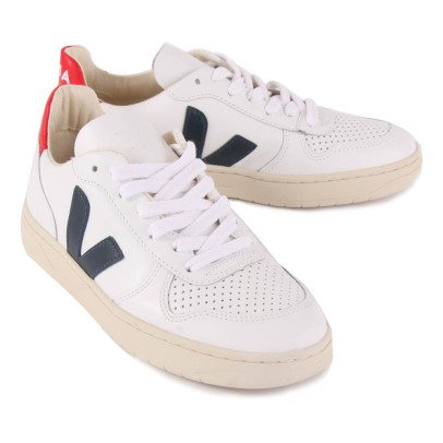 Veja V-10 Leather Lace-Up Trainers-listing
