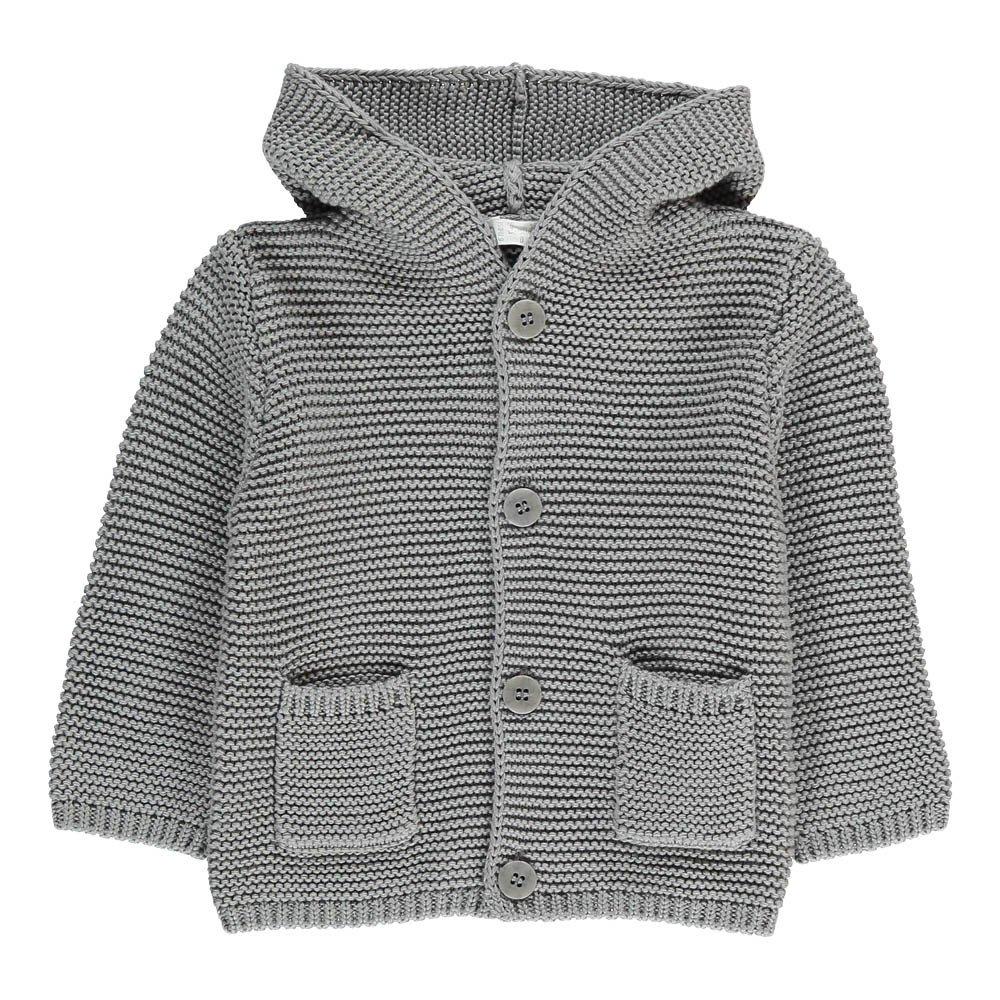 Moss Stitch Hooded Cardigan Grey Il Gufo Fashion Baby , Children