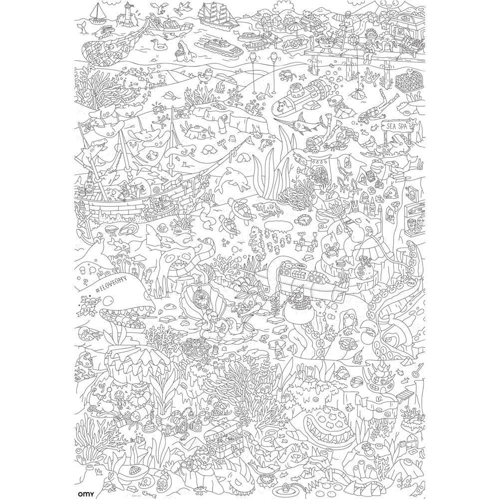 Póster gigante para colorear Océano Blanco Omy Juguetes y Hobby
