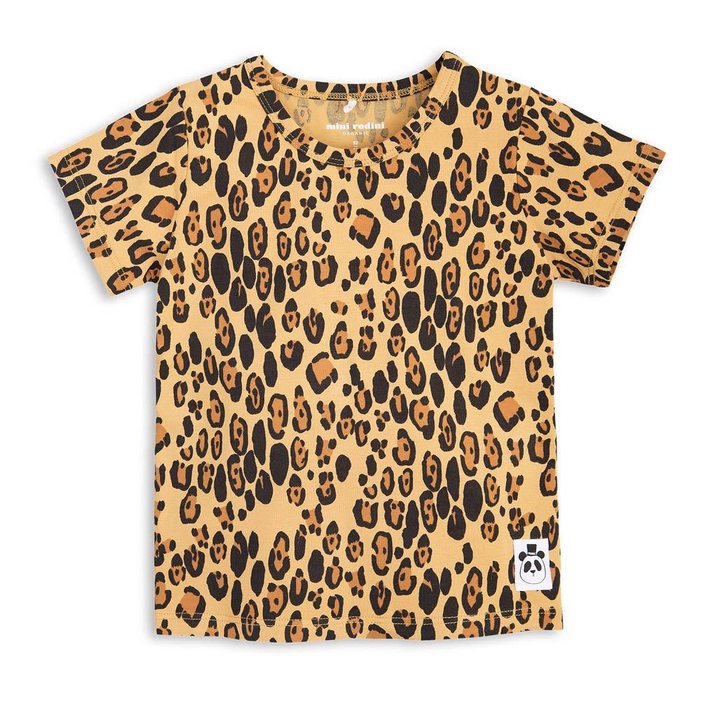 Organic Cotton Leopard T Shirt Beige Mini Rodini Fashion Baby
