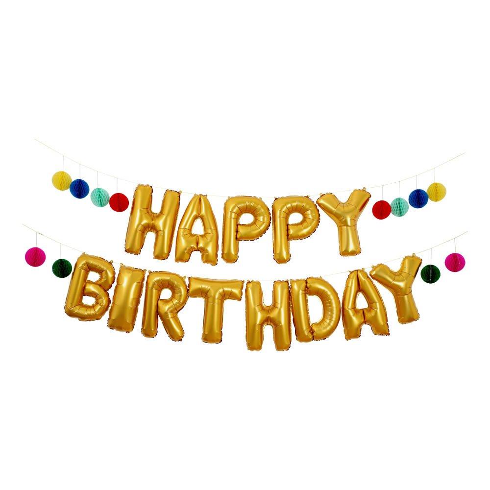happy birthday balloon banner gold meri meri design children. Black Bedroom Furniture Sets. Home Design Ideas