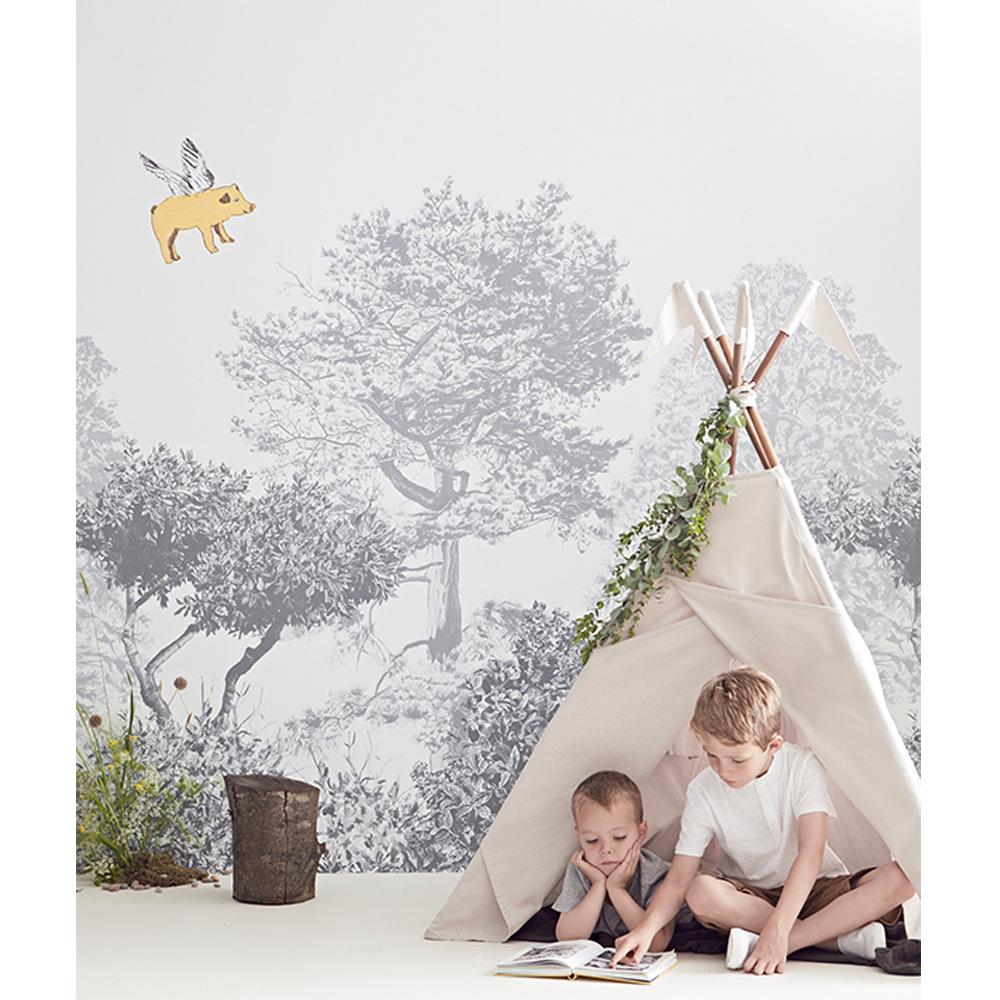 papier peint arbre hua gris sian zeng design enfant. Black Bedroom Furniture Sets. Home Design Ideas