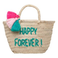 product-Rose in April Panier Pompon brodé Happy Forever