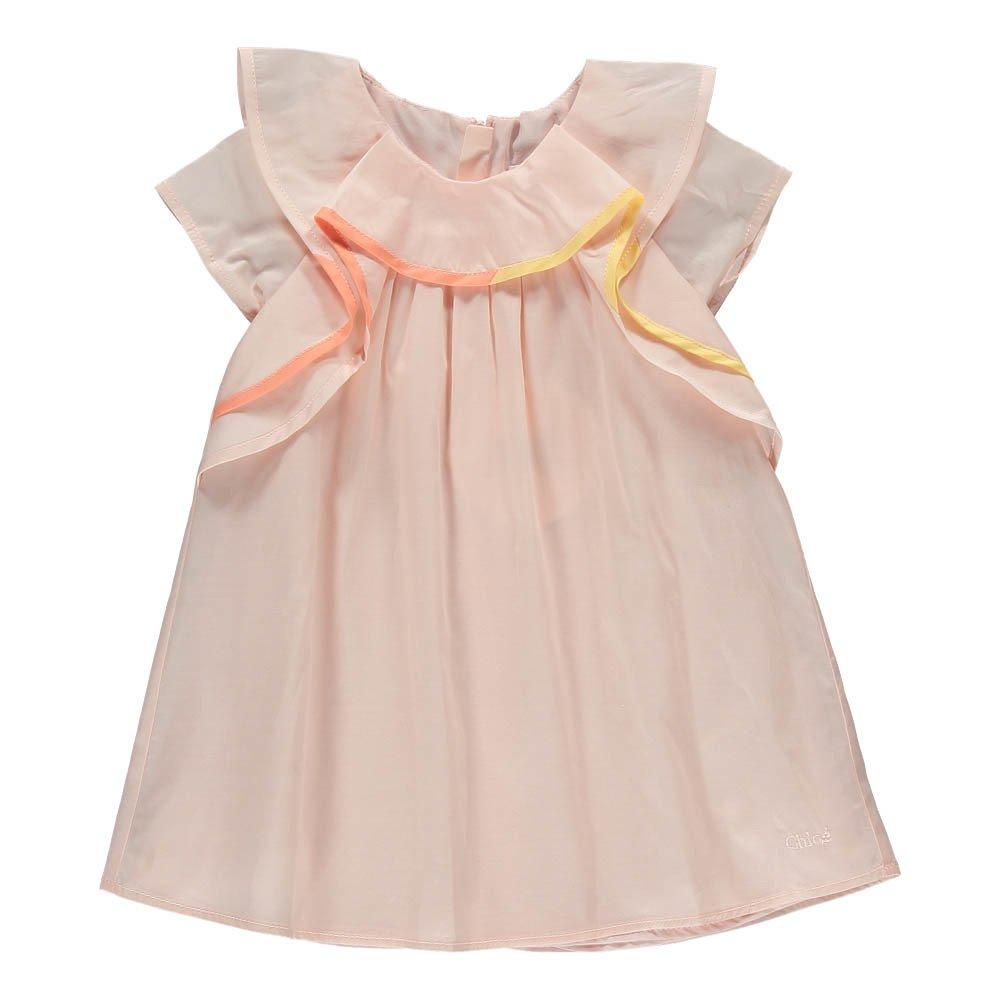 Vestido Percal Volantes Rosa Palo Chloé Moda Bebé