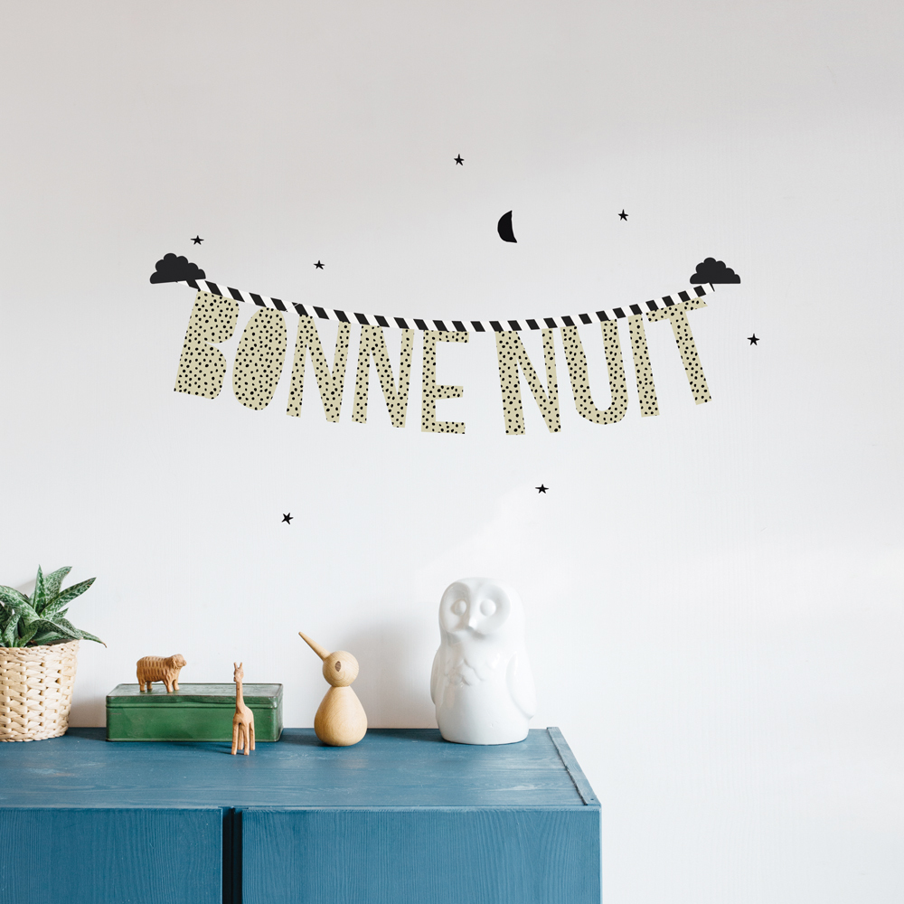 bonne nuit sticker black mimi lou design children bonne nuit sticker product