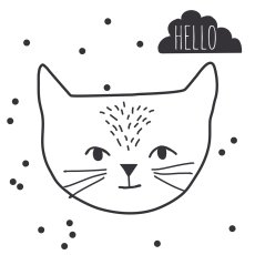 product-MIMI'lou Sticker Just a touch hello cat