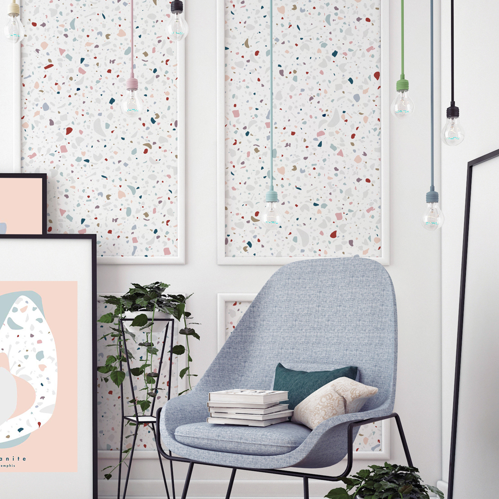 papier peint granite traditional blanc papermint design adulte. Black Bedroom Furniture Sets. Home Design Ideas