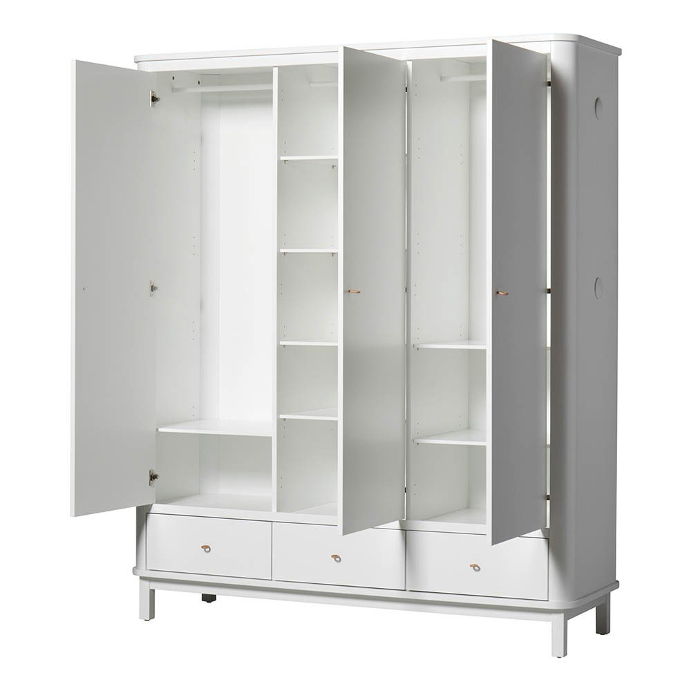 Armadio 3 ante in betulla 204x168 cm Bianco Oliver Furniture